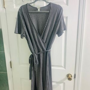 A New Day Jumpsuit - Black + White Pinstripe